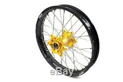 Kke 21 19 MX Spoke Wheel Rim Fit Dirtbike Suzuki Rm125 Rm250 1996-2008 Gold Hub