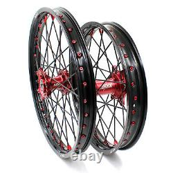 Kke 21/19 MX Wheel Rim Set For Honda Crf250r 2014-2020 Crf450r 13-2020 Red/black
