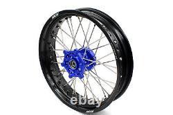 Kke 3.5/4.25 17 Supermoto Rims Wheel Set For Yamaha Wr250r 2008-2017 Blue Hub