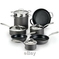 Lagostina Nera Hard Anodized Aluminum Non-Stick 12-Piece Cookware Set in Black