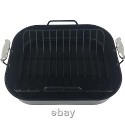 NIB All-Clad Hard Anodized Commercial Strong Nonstick Roaster With Rack 16 x 13 In