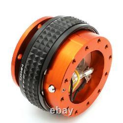 Nrg Aluminum Steering Wheel Quick Release Gen 2.1 Orange Body Black Pyramid Ring