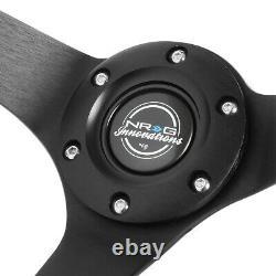 Nrg Reinforced 350mm 3 Deep Dish Micro Fiber Handle Black Spoke Steering Wheel