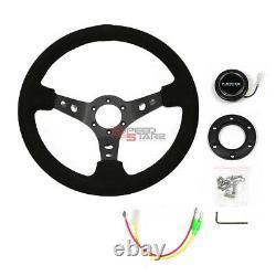 Nrg Reinforced 350mm 3deep Dish Black 3-spokes Suede Grip Racing Steering Wheel