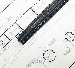 PREMIUM 12 inch Triangular Engineer Scale Ruler Anodized Solid Aluminum Drafting