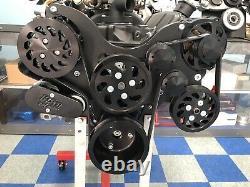 SBC 327 350 383 Black Serpentine Kit WithAC Small Block Chevy FREE PWR STR TANK