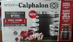 Select by Calphalon 9pc Space Saving cookware Hard-Anodized Nonstick #1530
