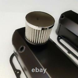 Small Block Ford Black Fabricated Aluminum Valve Covers Breathers 289 302 351W