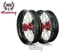 Supermoto 17 CNC Wheels Set For Honda CRF250R 2014-2019 CRF450R 2013-2019