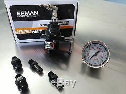 Universal Epman Black Adjustable Fuel Pressure Regulator With Liquid Fuel Gauge