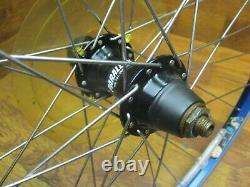 Vintage Sun L18 8 9 10 Speed Rim Brake 26 Wheel Set Blue Anodized Black Hubs